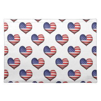 USA-Schmutz-Herz-geformtes Flaggen-Muster Stofftischset