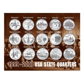 USA-Staat viertelt (Münzen) 1999 - 2001 Postkarte