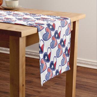 USA-Texas-Flagge-Herz Kurzer Tischläufer