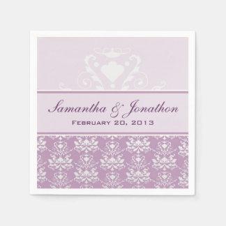 Usambaraveilchen-u. Silber-Damast-Hochzeit Papierserviette