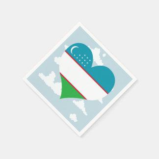 Usbek-Flagge auf einem bewölkten Hintergrund