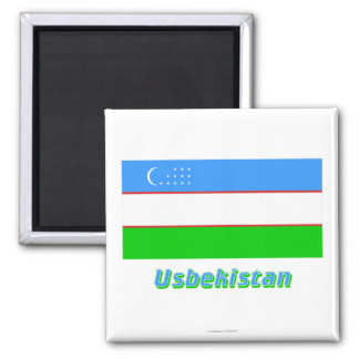 Usbekistan Flagge MIT Namen Quadratischer Magnet