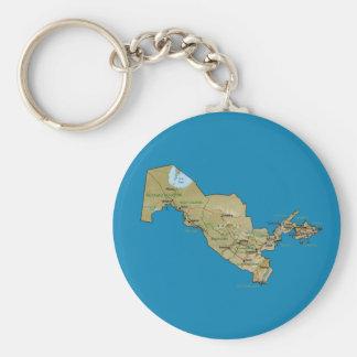 Usbekistan-Karte Keychain Schlüsselanhänger