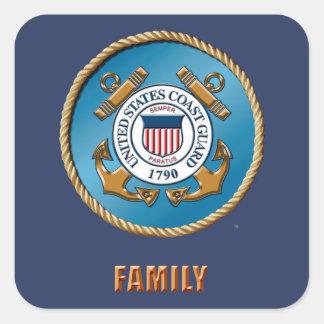 USCG Familie Quadrat-Aufkleber, glatt Quadratischer Aufkleber