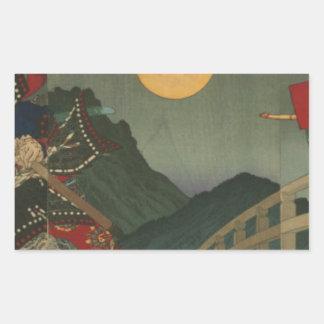 Ushiwaka und Benkei, die auf Gojo Brücke Rechteckiger Aufkleber