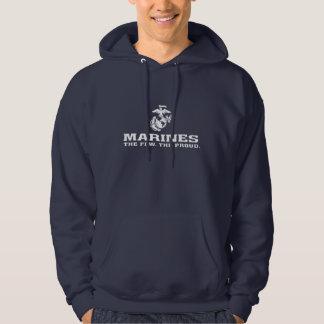 USMC die wenigen das stolze Logo gestapelt - Weiß Hoodie