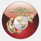 USMC Eagle, Kugel u. Anker (EGA) [3D] Runder Aufkleber