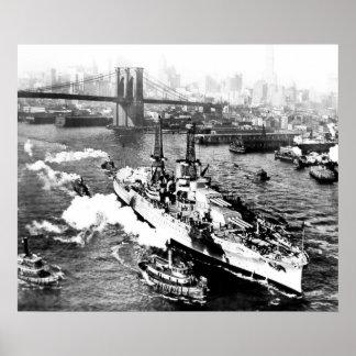 USS Arizona in New York Poster
