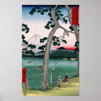 Utagawa Hiroshige Fuji auf der linken Seite Poster