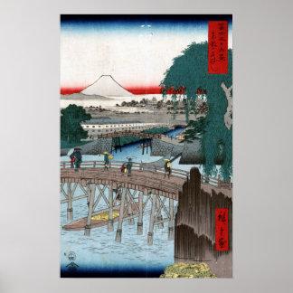 Utagawa Hiroshige Ichikobu Brücke Poster