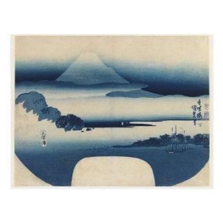 Utagawa Kunisada - Ansicht von Fuji von Miho Postkarte