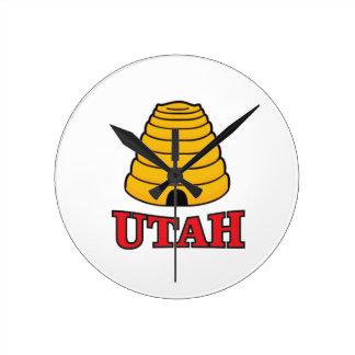 Utah-Bienenstock Runde Wanduhr