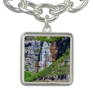 Utah-Wasserfall #1B - Charme-Armband - Quadrat