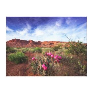 Utah-Wüsten-Kaktus-Blumen Leinwanddruck