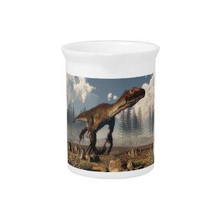Utahraptor Dinosaurier in der Wüste - 3D Getränke Pitcher