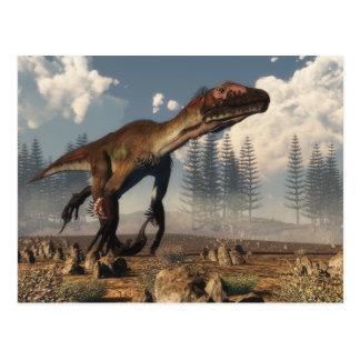 Utahraptor Dinosaurier in der Wüste Postkarte