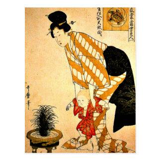 Utamaro - Blumen-gemusterte Baumwolle Postkarte