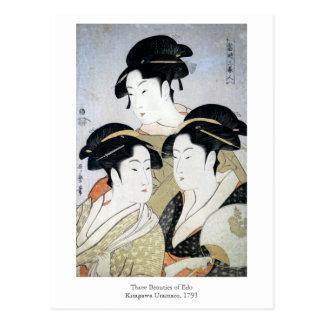Utamaro drei Schönheiten von Edo Postkarte