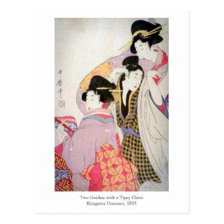 Utamaro Geishas mit Tipsy Kunden Postkarte