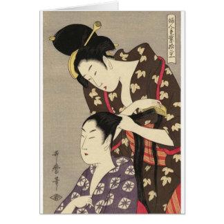 Utamaro Yuyudo Ukiyo-e die Frisur der Frauen Kunst Grußkarte