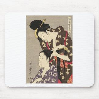 Utamaro Yuyudo Ukiyo-e die Frisur der Frauen Kunst Mousepads