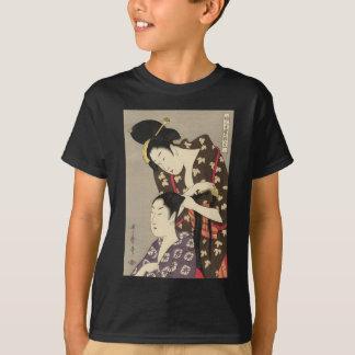 Utamaro Yuyudo Ukiyo-e die Frisur der Frauen Kunst T-Shirt