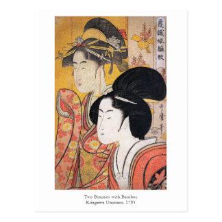 Utamaro zwei Schönheiten mit Bambus Postkarte