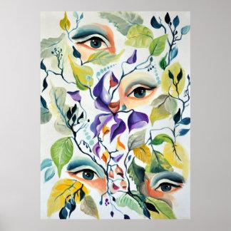 Utopischer psychedelischer surrealer Augen-Entwurf Poster