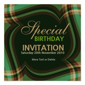 v2. Grünes Goldtartan-Quadrat-Einladung Quadratische 13,3 Cm Einladungskarte