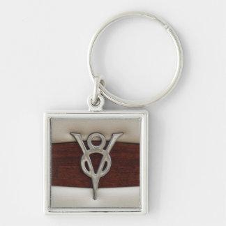 V8-Chrom-Emblem-Leder und Holz Silberfarbener Quadratischer Schlüsselanhänger