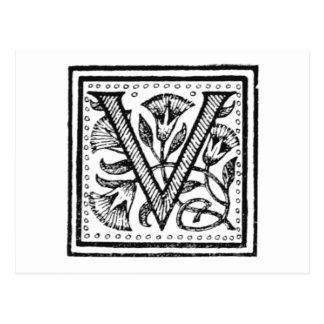 V Initiale von einem Mönch der Pfeife Postkarte