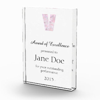V - Niedrige Polydreiecke - neutrales rosa lila Acryl Auszeichnung
