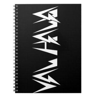 Val Halla SCHRIFTART Logo-Weiß auf Schwarzem Notiz Buch
