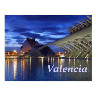 Valencia bis zum Nacht Postkarte