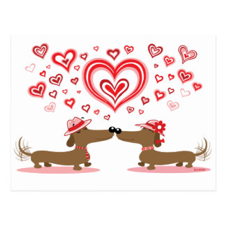 Valentine-Dackeln Postkarte