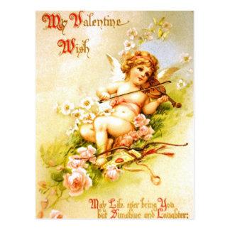 Valentine-Engels-Violinen-Vintage Postkarte