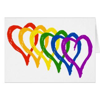 Valentine-Gay Pride-Regenbogen überlagerte Herzen Grußkarte