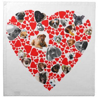 Valentine-Herz-HundeFoto-Collage Serviette