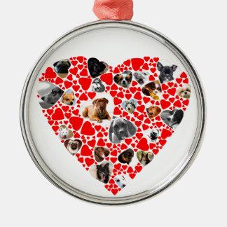 Valentine-Herz-HundeFoto-Collage Silbernes Ornament