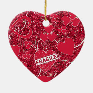 Valentine-Herz-Muster-empfindlicher Glitter ID300 Keramik Ornament