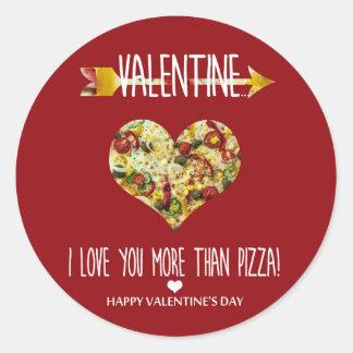 Valentine, i-Liebe Sie mehr als Pizza Runder Aufkleber