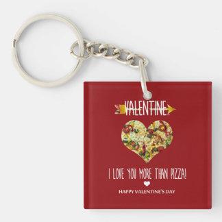 Valentine, i-Liebe Sie mehr als Pizza Schlüsselanhänger