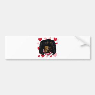 Valentine-langhaarige schwarze Dackel Autoaufkleber