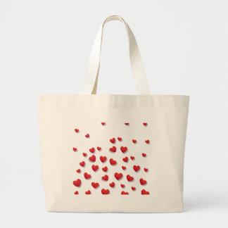 Valentine-Liebe-Herz-Rosa-Rosen-niedliches Rot Jumbo Stoffbeutel