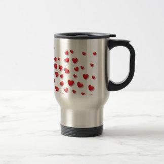 Valentine-Liebe-Herz-Rosa-Rosen-niedliches Rot Reisebecher