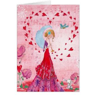 Valentine-Liebe-Musik Gir | Gruß-Karte Karte