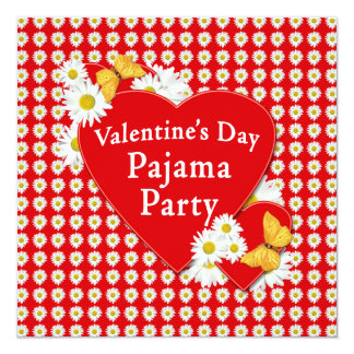 Valentine-Pyjama-Party-Gänseblümchen-Einladung Quadratische 13,3 Cm Einladungskarte