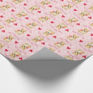 Valentine-Rose Frenchie Geschenkpapier