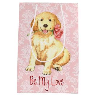 Valentine-Rose golden Mittlere Geschenktüte