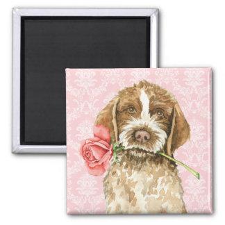 Valentine-Rose Griffon Quadratischer Magnet